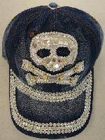 Denim Hat with Bling [Skull] Silver